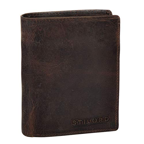 Stilord 'marc' portafoglio uomo vintage in pelle con scatola regalo portafogli con portamonete in vero cuoio orizzontale con numerose tasche, colore:zamora - marrone