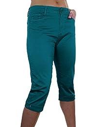 ICE (1510) Pantacourt en Jeans Extensible avec Diamante Grande Taille