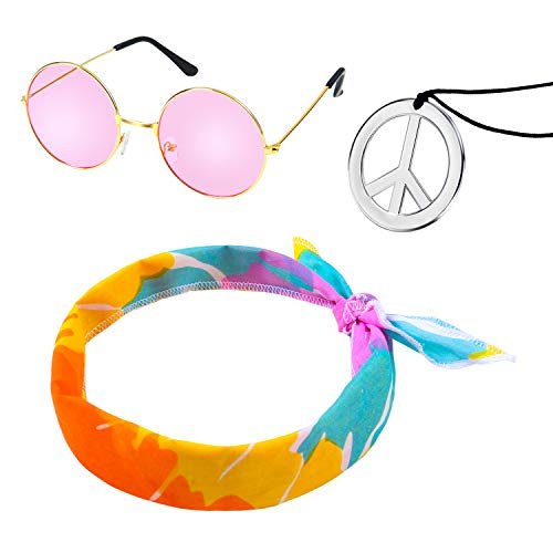 3 Pack Hippie Costume Set with round shades, headband and peace necklace