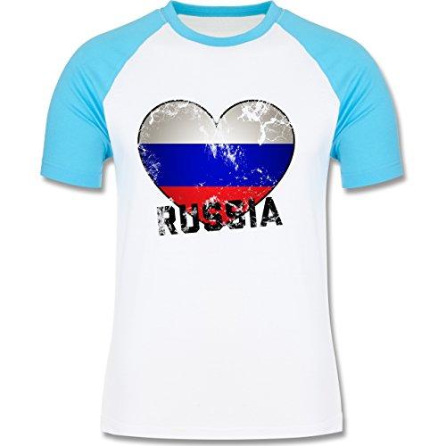 EM 2016 - Frankreich - Russia Herz Vintage - zweifarbiges Baseballshirt für Männer Weiß/Türkis