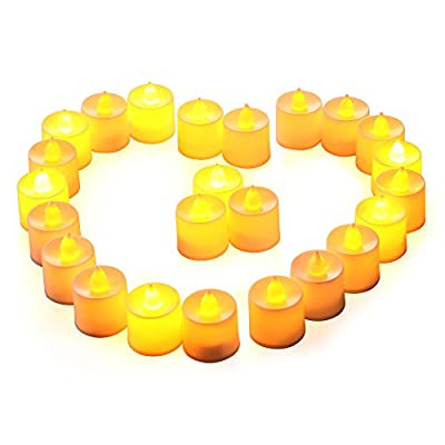 lederTEK battery operated(3 x AG13 each one,included) Yellow flickering LED tea lights candles lights
