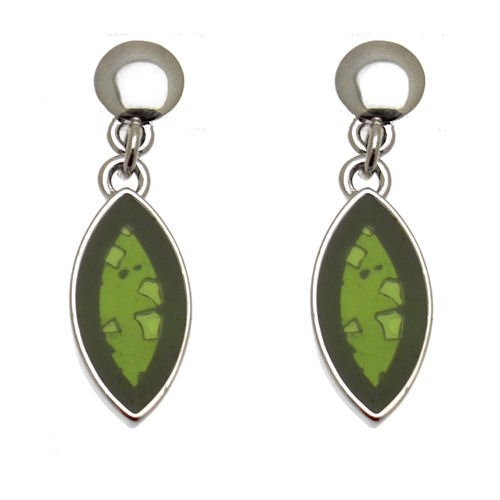 Acosta Jewellery – Olive Grün Silhouette Glas, Dainty Oval Drop Ohrringe (Olive Silhouette)