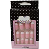Ear Lobe & Accessories Personal /Professional Reusable False Pink French Nails With Nail Glue