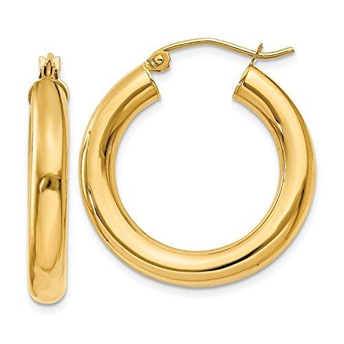 14 Karat 585 Gold Hochglanz Creolen Ohrringe Gelbgold - Breite 4 mm - Große Wählbar (20 Millimeter)