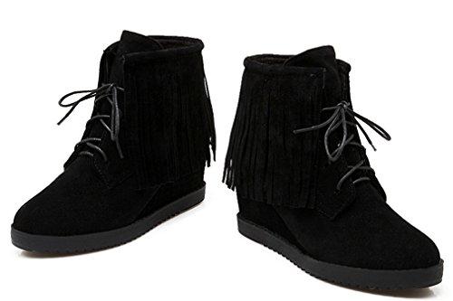 YE Damen Wedges High Heel Wildleder Warm Gefüttert stiefeletten mit Keilabsatz Herbst Winter Schnürung Fransen Ankle Boots Schwarz