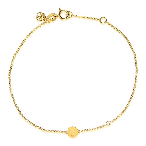 Sydney Evan Shy en argent Sterling plaqué Bracelet Smirk Emoji et diamant 17.145 cm de longueur jaune