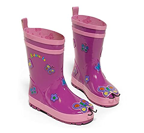 Kidorable Original Branded Purple Butterfly Rubber Rain Boots Wellies for Little Girls Children Toddlers Infants (6 UK)