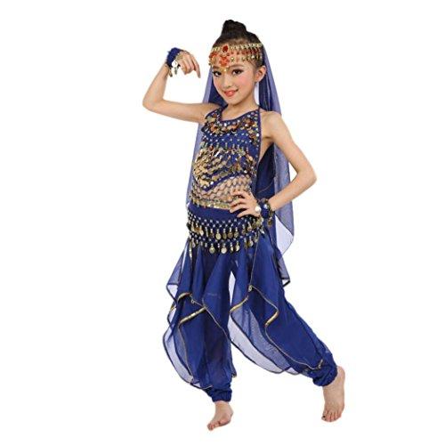 Hunpta Handgemachte Kinder Mädchen Bauchtanz Kostüme Kinder Bauchtanz Ägypten Tanz Tuch (126-139CM, (Kleid Muster Tanz Kostüme)