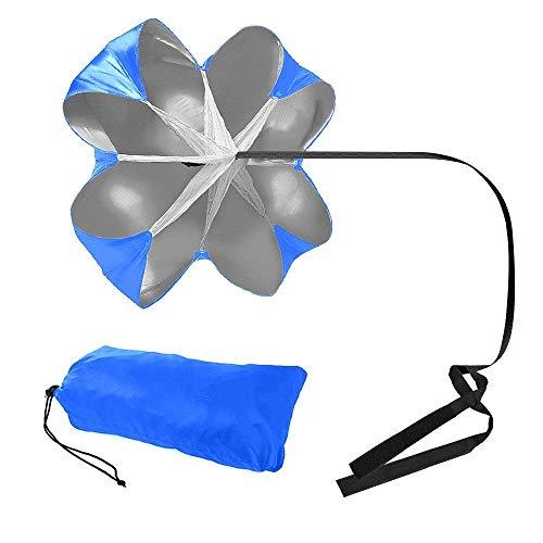FIVE BEE Upgrade-Lauftraining mit Kostenloser Tragetasche, 56-Zoll-Fußballtraining, Resistance Parachute-Regenschirm, Speed Chutes für Gewichtsbelastung und Fitness-Core-Krafttraining (blau) -