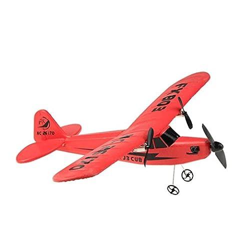Malloom Avion télécommandé RC Helicopter Planeur Avion EPP foam 2CH 2.4G Toys (Rouge)