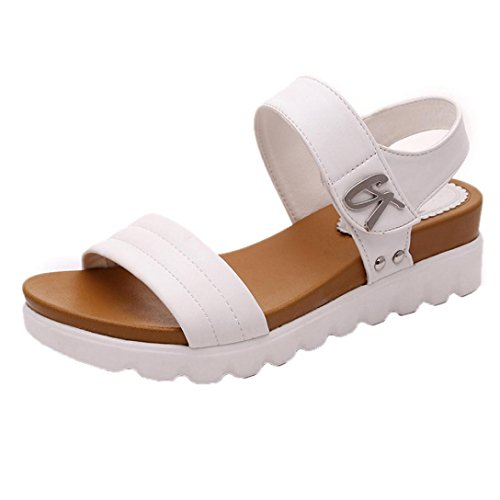 Uomogo® sandali estivi scarpe con sandali donna, ragazze infradito scarpe basse aperte sandali da donna (asia 41, bianca 2)