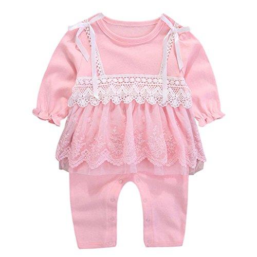 3-9 Monate Kleinkind Kinder Strampler, DoraMe Baby Mädchen Lange ärmel Solide Overall Bogen Spitze Outfits Baumwolle O-Ausschnitt Jumpsuit (Rosa, 6 Monate)