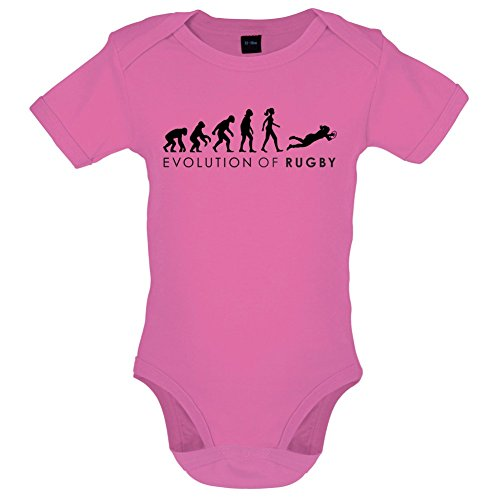 Evolution of Woman - Rugby - Lustiger Baby-Body - Bubble-Gum-Pink - 3 bis 6 Monate (Baby-jungen-rugby)