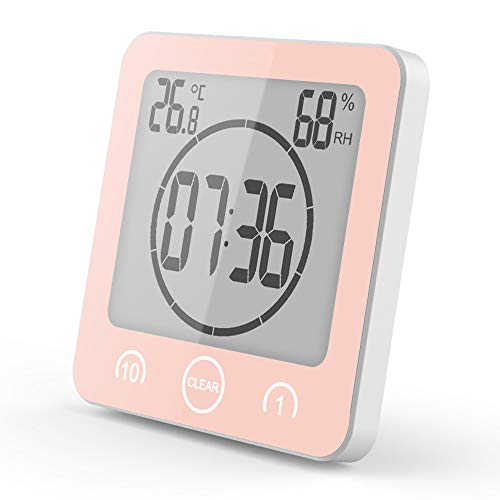 BSDZ Shower Clock Dusche Uhr Wasserdicht Badezimmeruhr Uhr mit Saugnapf LCD Display Luftfeuchtigkeit Temperatur Wanduhren,Countdown Timer (Pink)