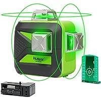 Huepar 603CG Nivel láser autonivelante verde 3x360 Línea cruzada 40m nivelación y alineación en tres planos: dos líneas verticales 360° y una línea horizontal 360° - Base giratoria magnética