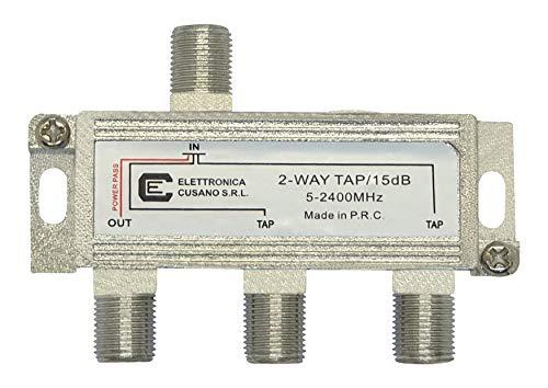 Elettronica Cusano 9233-15 Satelliten-Umschalter mit 2 Derivate-Ausgängen, 15 dB, Grau