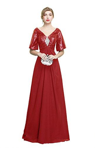ChuanYiMG Damen A-Linie Kleid Gr. 36, burgunderfarben (Chiffon Jeweled Kleid)