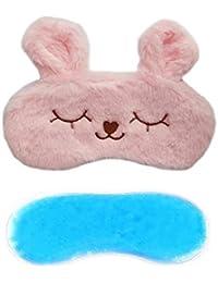 Jenna™ Cute Fur Sleeping Eye Shade Mask Cover for Insomnia, Meditation, Puffy Eyes and Dark Circles Bunny Pink Gel