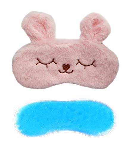 JennaTM Cute Fur Sleeping Eye Shade Mask Cover for Insomnia, Meditation, Puffy Eyes and Dark Circles Bunny Pink Gel