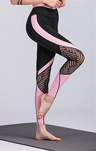 AiJump Femmes Leggings de Sport Yoga Fitness Pantalons pour Athlétique d'entraînement Running Jogging Gym Pilates Noir & Rose