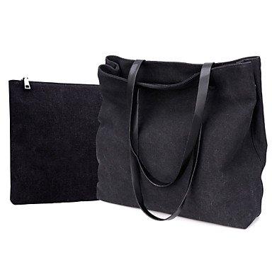 Donne busta di tela borsa a tracolla - blu / grigio / nero,Nero Black
