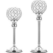 ManChDa Silver Crystal Spherical Candle Holders Conjuntos de 2 centros de Mesa de Boda para la