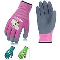 Vgo Glove Guantes de jardín, niños, niños, guantes de trabajo y de jardinería cubiertos de goma espuma para niños (3 pares, 3 colores, talla para niños 3-5, 6-8)
