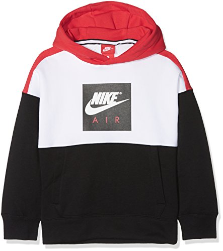 Nike Air Jungen Sweatshirt mit Kapuze, mehrfarbig (White/Black/University Red/White), XS