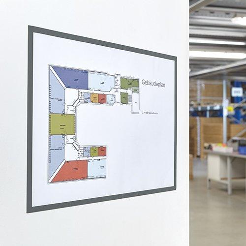 magnetoplan® magnetofix-Sichtfenster - Format DIN A3, VE 5 Stk - Rahmen grau - Fenster Klarsichttafel Magnetlagerschild und -rahmen -