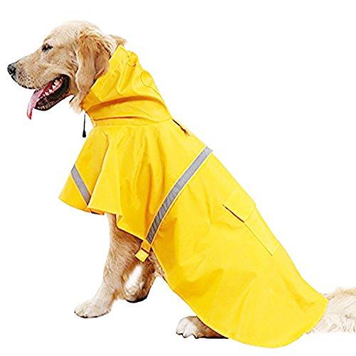 Systond Haustier Hunderegenmantel wasserdichte mit Kapuze Regen Abdeckungen Welpen Hunderegenmantel Slicker Welpen Regenkleidung Kleidung mit reflektierenden Streifen für kleine mittlere große Hunde (Slicker Regenschutz)