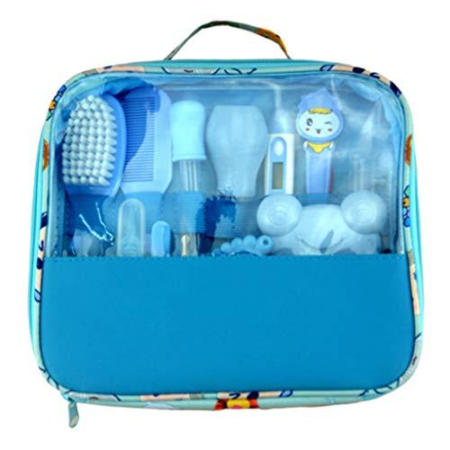HUXINFEI Baby Pflege Set 13 Stück Nail Clipper Set Nasal Aspirator Essentials Neugeborenen Baby Pflege Kit,Blue -