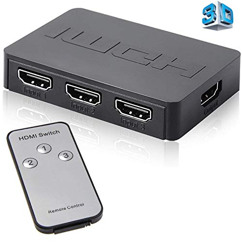 Farraige HDMI Switch Splitter Switcher Box 3-Port 3 in 1 Out 3 x 1 Monitor Switch Supports 3D Full HD 1080p High Speed with IR Remote Control