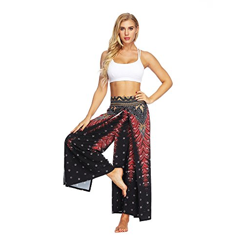 Elastische Taille Taschen Stricken Pants (Frauen Casual Sommer Yoga Hosen, routinfly Lose Baggy Boho Aladdin Jumpsuit Harem Athletic Pants)
