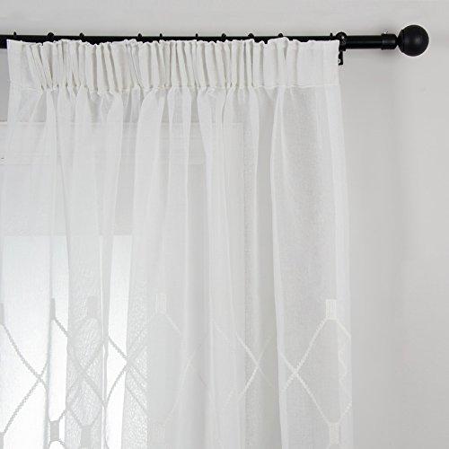 Top Finel Rideaux Voilages Motif Losange à Galon Fronceur pour Salon Chambre Cuisine, Lot de 1 rideaux,300cm(largeur)x250cm(hauteur),Blanc