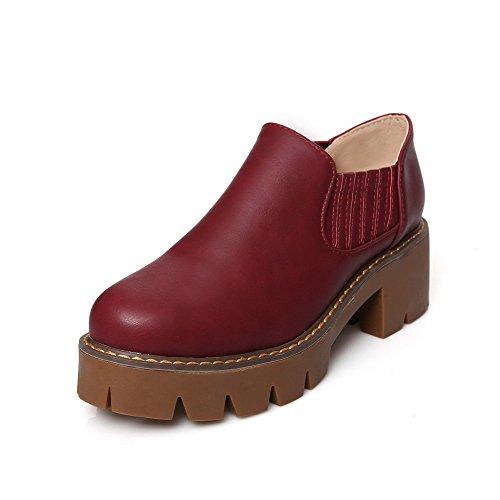 VogueZone009 Femme Rond Tire Pu Cuir Couleur Unie à Talon Correct Chaussures Légeres Rouge Vineux