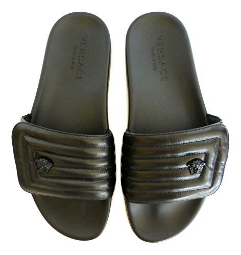 Versace ciabatte da mare sandalo in gomma e nappa trapuntata motivo greco dettaglio medusa dsu6209 dnaxg d41 (43.5 eu - 9.5 uk)