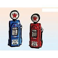 Preisvergleich für 1 x Spardose Design Zapfsäule Gasoline Route 66 in blau oder rot lieferbar, Spardose Modell Zapfsäule mit Schloss
