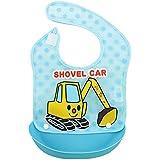 Julvie Waterproof Stay-Dry Soft Baby Bibs With Snap On Detachable Food Catcher - B0732NLDDK