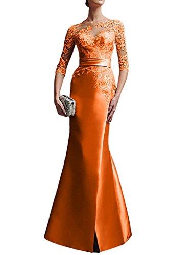 Charmant Damen Glamour Orange Satin Spitze Langarm Abendkleider Ballkleider Partykleider...