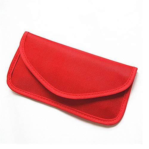 Keyless Go Schutz Autoschlüssel, DOXMAL Auto Signal Keyless Schlüsseletui Funkschlüssel Abschirmung, RFID Key Safe Strahlenschutz Tasche für Telefon, Bankkarten (Rot) - Wifi-jammer