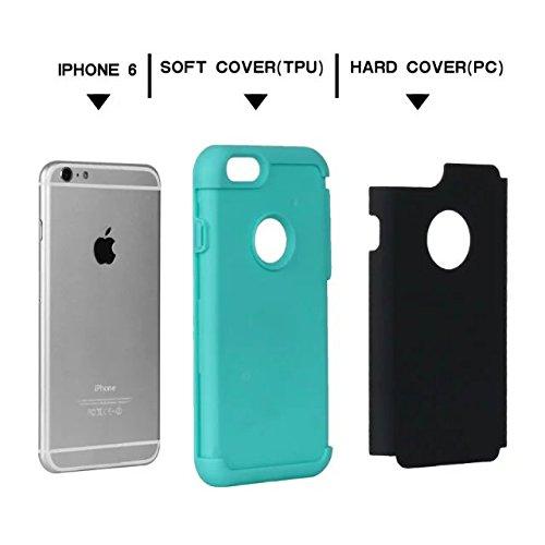 """iPhone 6 Coque,iPhone 6S Coque,Lantier fini mat givré finition design antichoc 2 en 1 Combo Rugged Armor Housse de protection pour Apple iPhone 6/6S 4.7"""" Rose Or+Rose Black+Mint Green"""