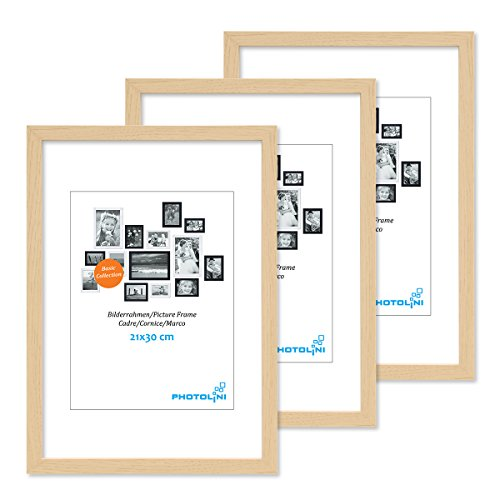PHOTOLINI 3er Set Bilderrahmen 21x30 cm DIN A4 Modern Natur aus MDF mit Acrylglas/Portraitrahmen/Wechselrahmen