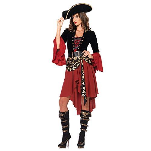XSZD Erwachsene Frauen-Piraten-Kapitän Kostüm Sexy Damen Rot