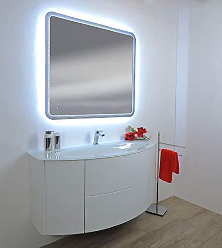 Mobile bagno sospeso moderno eden touch bianco frassino, misura cm 120, lavabo cristal senza specchio a led