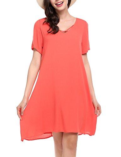 Beyove Damen Polka Dots Wickelkleider V- Ausschnitt Jersey Kleid  Wickeloptik Partykleider (EU 40(Herstellergröße  L), Orange-4) ee66976177