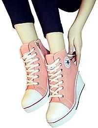 Damen Keilabsatz Sneakers Canvas Turnschuhe Sportschuhe Freizeit Schuhe mit  Seitliche Reißverschluss Frauen Wedges Schnürschuhe Sneakers Schuhe aab406788b