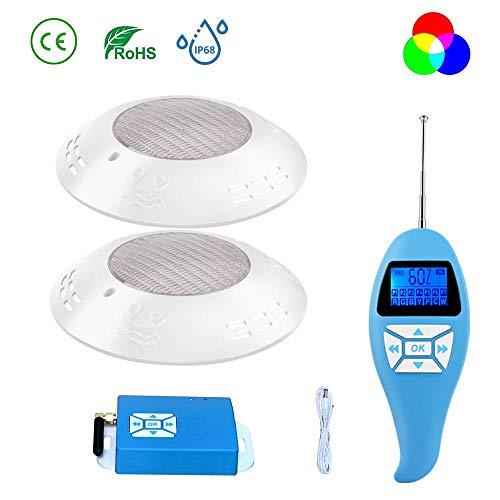 LyLmLe LED Poolbeleuchtung 20W Poolscheinwerfer Led RGB Farbwechsel Externe Synchronisation Steuern mit Fernbedienung für Aufputzmontage, IP68 Wasserdicht LED Unterwasserscheinwerfer,12V AC(2 Lampen)