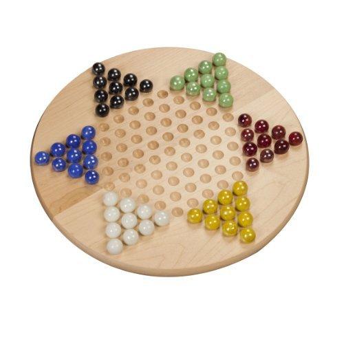 WE Games Chinese Checkers-aus massivem Ahorn Holz mit Glasmurmeln-27,9cm (Made in USA)