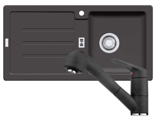 Preisvergleich Produktbild Franke Strata STG 614 Spüle + Armatur 740 Graphit Fragranit Dunkelgrau Küchenset