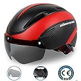 Kinglead, casco da bici regolabile, certificato CE, con occhiali a visiera a sgancio magnetico, Black Red